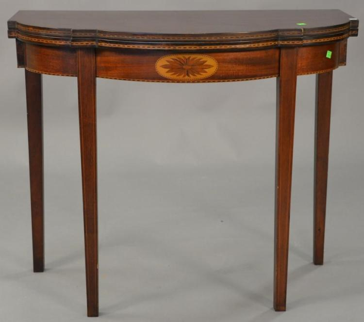Custom mahogany Federal style game table. ht. 30 1/2 in., wd. 36 in., dp. 18 in.