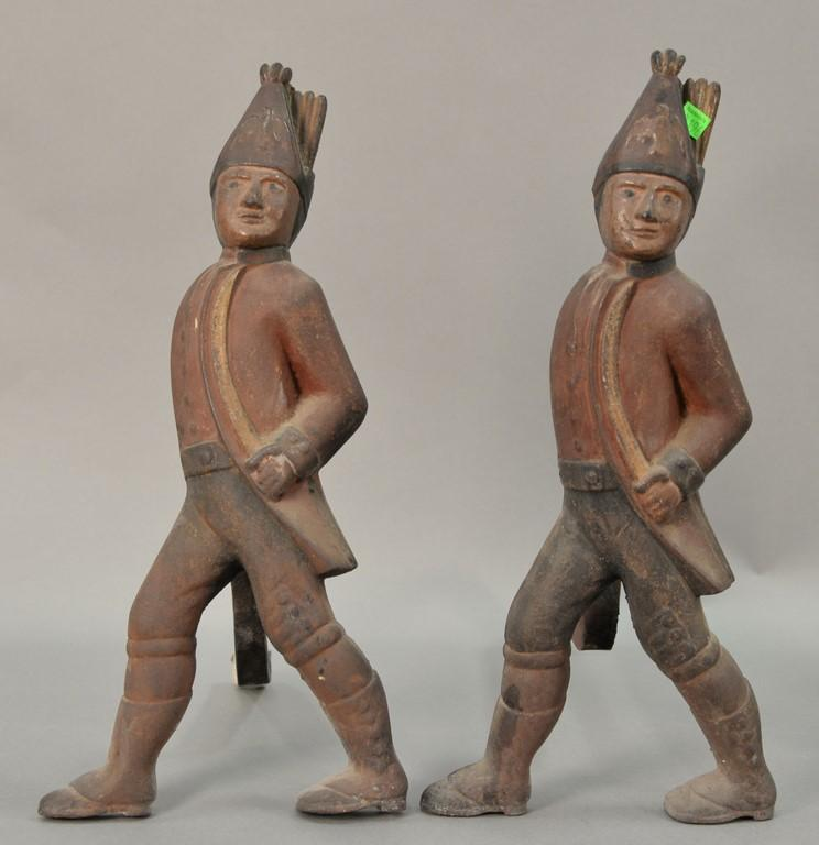 Pair of Hesian andirons (one firedog leg off). ht. 19 3/4in.