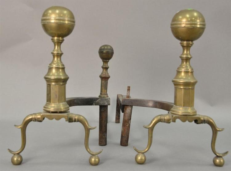 Pair of Federal brass andirons, probably Boston, circa 1830 (one log stop missing). ht. 16 1/2in.