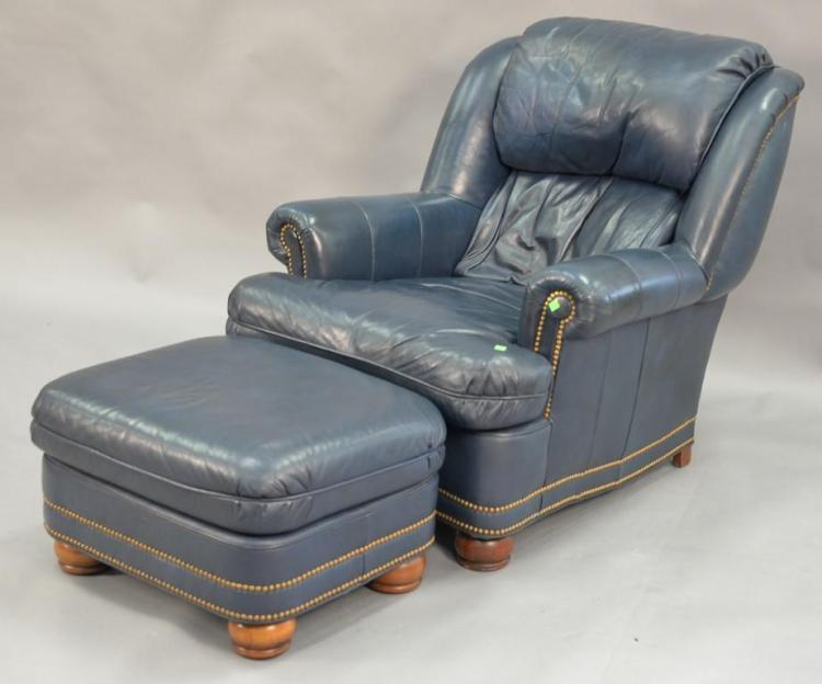 Hancock and Moore blue leather easy chair and ottoman.