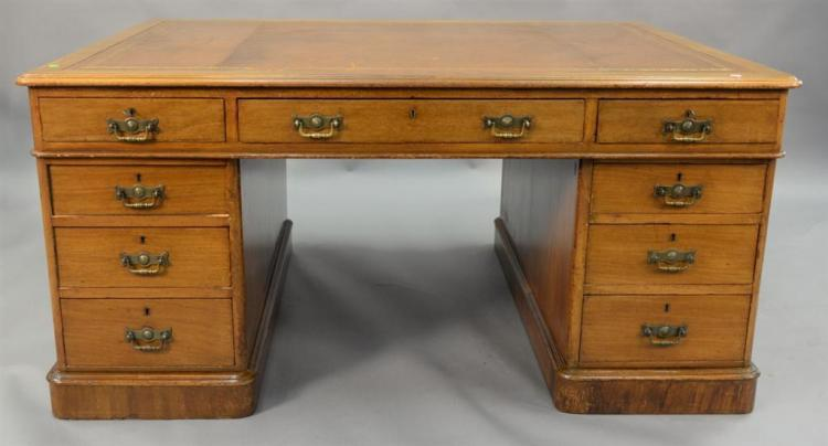 Georgian mahogany three part desk with inset leather writing surface, circa 1850. ht. 28in., top: 41 1/2