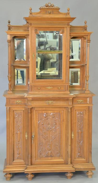 Walnut cabinet with curio top. wd. 41in., dp. 15in.