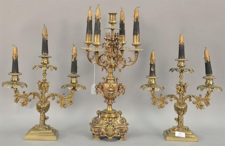 Three piece bronze candelabra group (ht. 20in.) and three busts of women (ht. 6 1/2in., 16 1/2in., & 11 1/2in.)