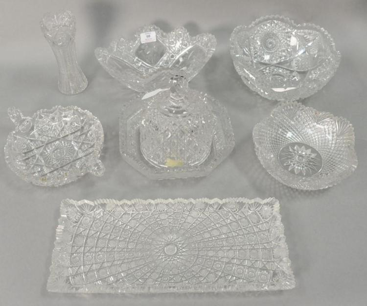Eight cut glass pieces to include five bowls, tray (lg. 15 3/4in.),dome, and vase (ht. 7 1/2in.).