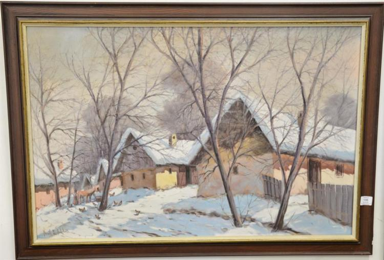 Snowy farm landscape oil on canvas signed indistictly lower left, 24