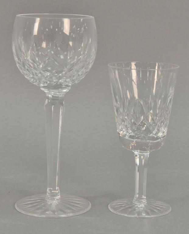 Two sets of Waterford stems including six large red wine glasses and nine white wine glasses. ht. 5 1/2in. & 7 1/2in.