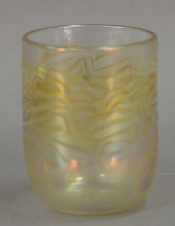 Set of eight art glass feather iridescent glasses, a couple signed minor? 90'. ht. 3 3/4in.