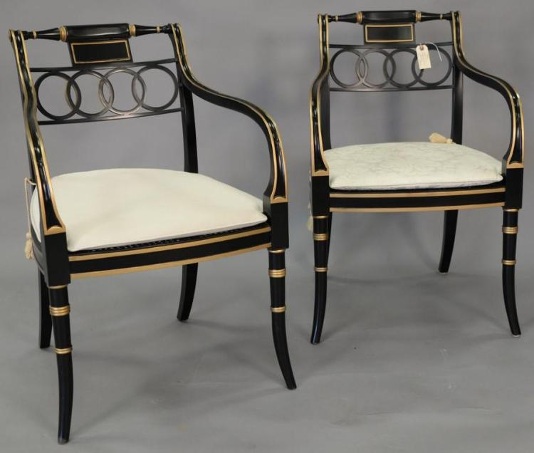 Baker pair of historic Charlestown armchairs with caned seats.
