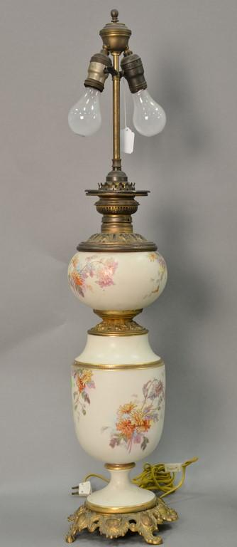 Porcelain banquet lamp in the manner of Royal Worcester, electrified. total ht. 36in.