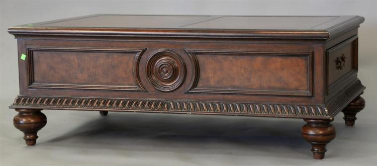 Ethan Allen coffee table with leather top (corner chip). ht. 19in., top: 31 1/2