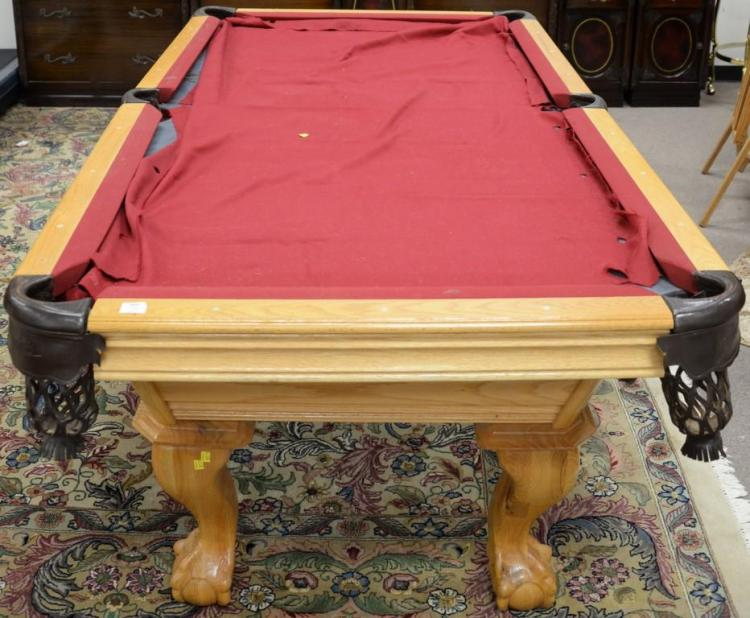 Oak carved pool table with slate top. ht. 32in.; top: 47 1/2