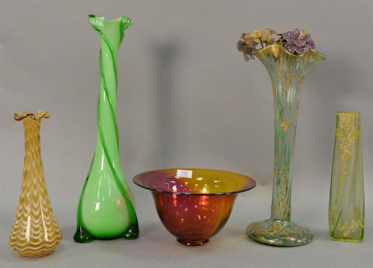 Five large art glass vases and bowls to include art glass bowls signed on bottom K Dahl? ht. 6in. to 18 1/4in.