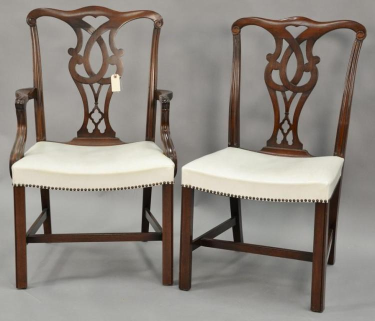 Set of six Grand Lodge mahogany Chippendale style chairs with white leather seats.