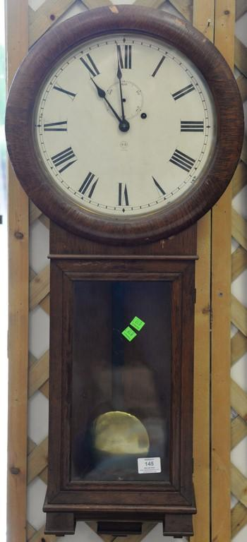 Seth Thomas rosewood long drop regulator clock with brass weight, second hand missing. ht. 36in.