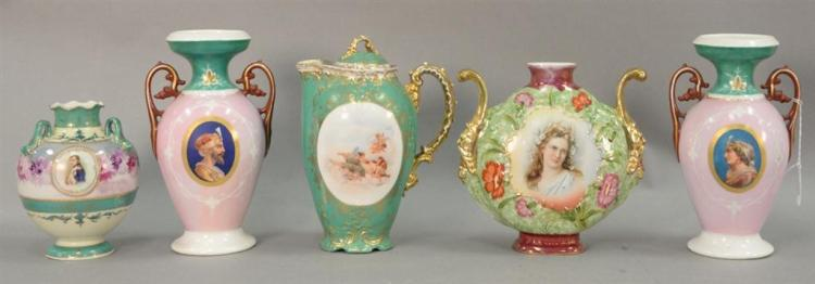 Five porcelain portrait pieces to include a pair of French porcelain urns, Napoleon bud vase, porcelain coffee pot with cherubs, and...