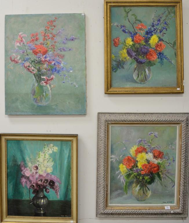 Seven oil on canvas paintings of flowers all signed Ruth Stone. 23 1/2