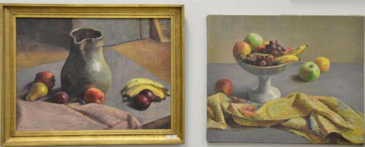 Four oil on canvas of fruit, all signed Ruth Stone. 17 1/2