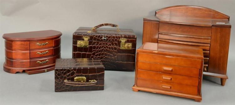 Five jewelry boxes including two alligatored leather by