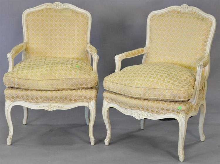Pair of Louis XV style armchairs.