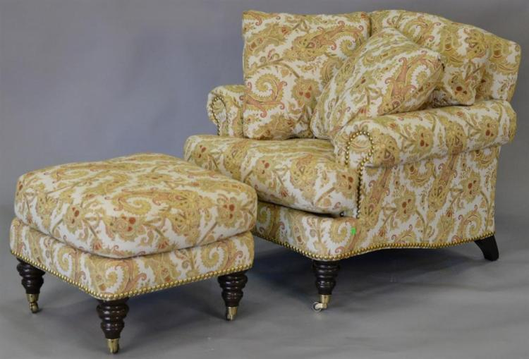 Lillian August upholstered chair and ottoman.