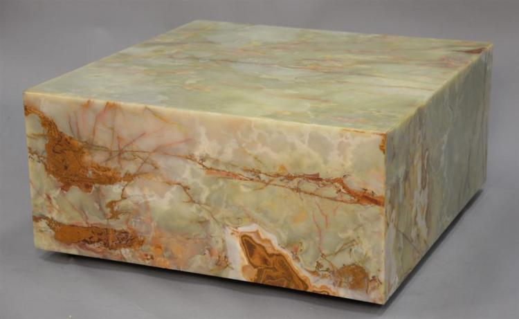 Onyx square coffee table. ht. 15 1/2in., top: 34