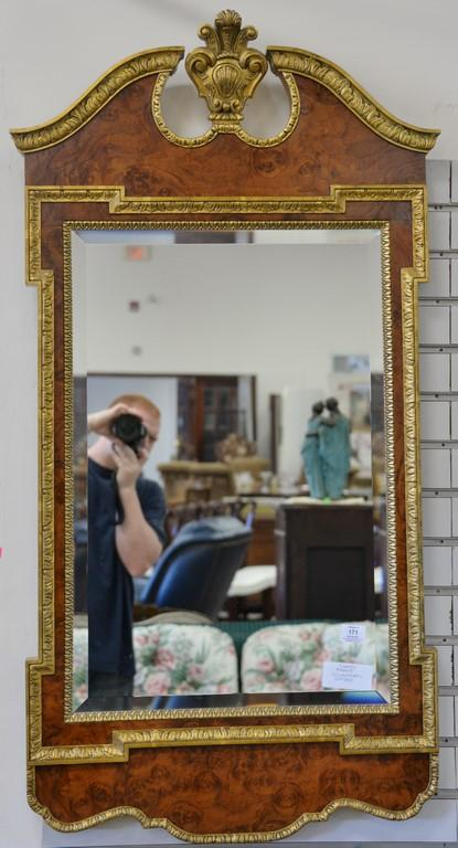 Baker Collector's Edition Continental style beveled glass mirror with burlwood frame.