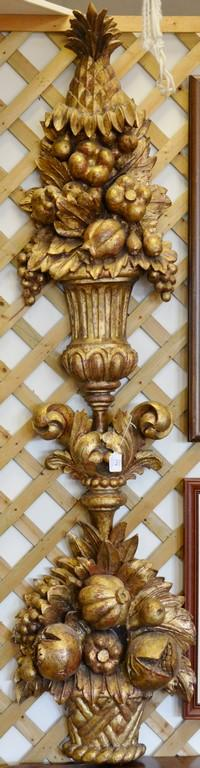 Carved wood wall hanging. ht. 67in., wd. 17in.