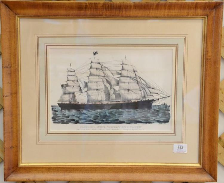 Currier & Ives hand colored lithograph, Clipper Ship