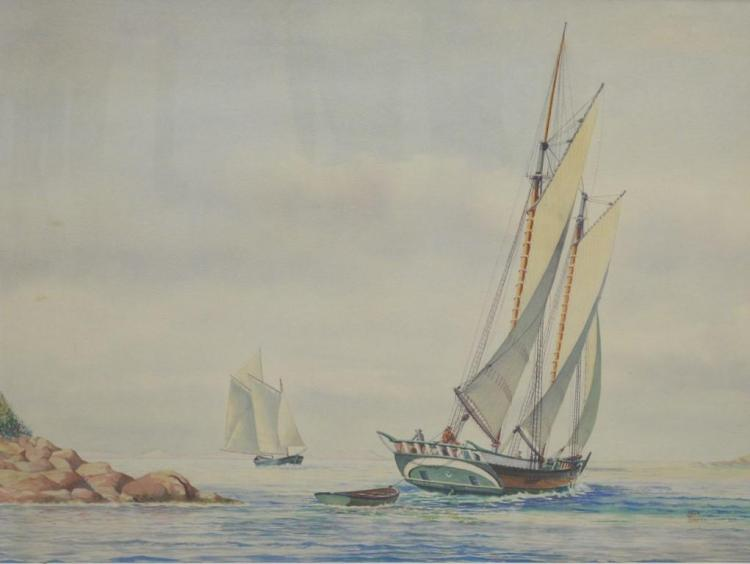 John Leavitt (1905-1974) watercolor Schooner heading out to sea, John & Susan markhead, signed lower right John Leavitt, sight size ...