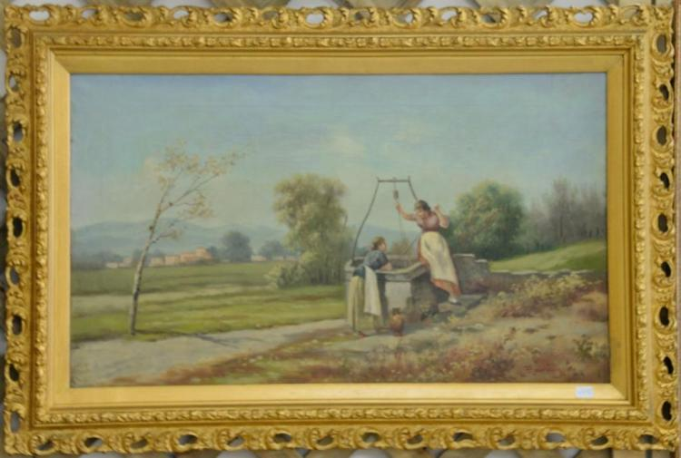 Two oil on canvas landscapes including two girls at a well signed F. Lauring (14