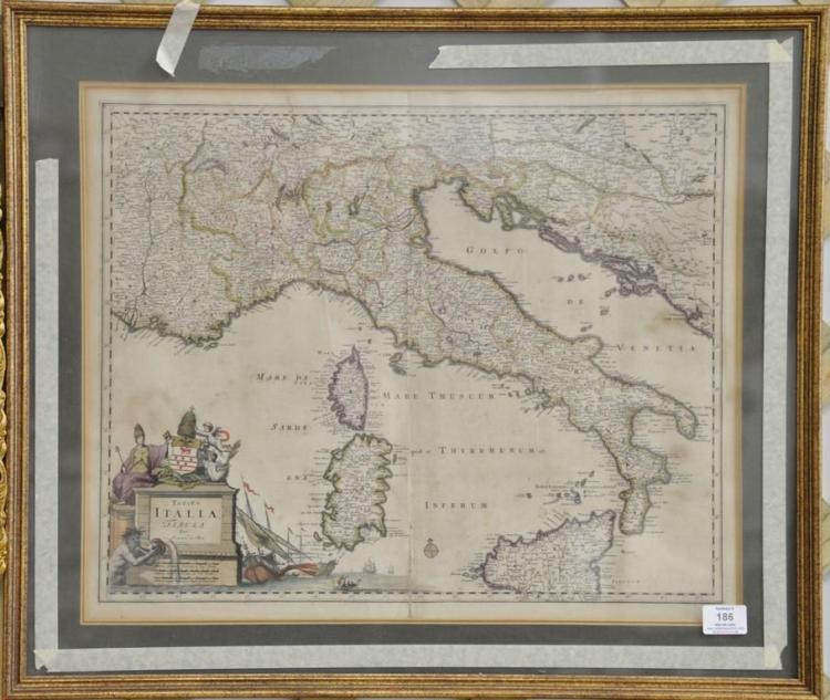 Totius Italia Tabula per Joannem de Ram hand colored map engraving, 17th/18th century, sight size 18 3/4