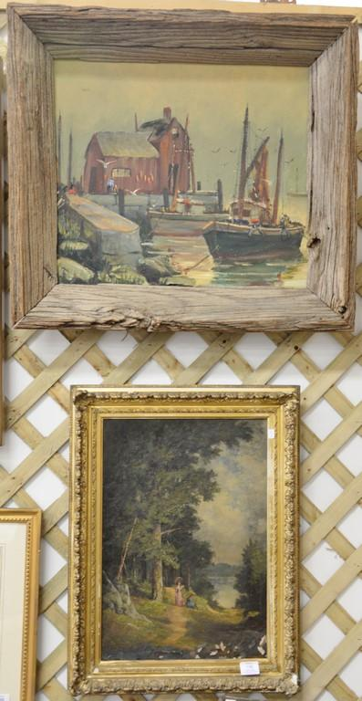Two oil on canvas paintings including harbor scene in driftwood frame (20