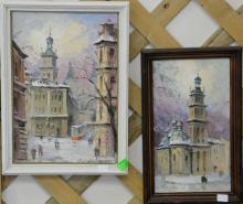 Two oil on board painting Russian Winter, Orthodox Church, signed lower right Indistinctly, 10