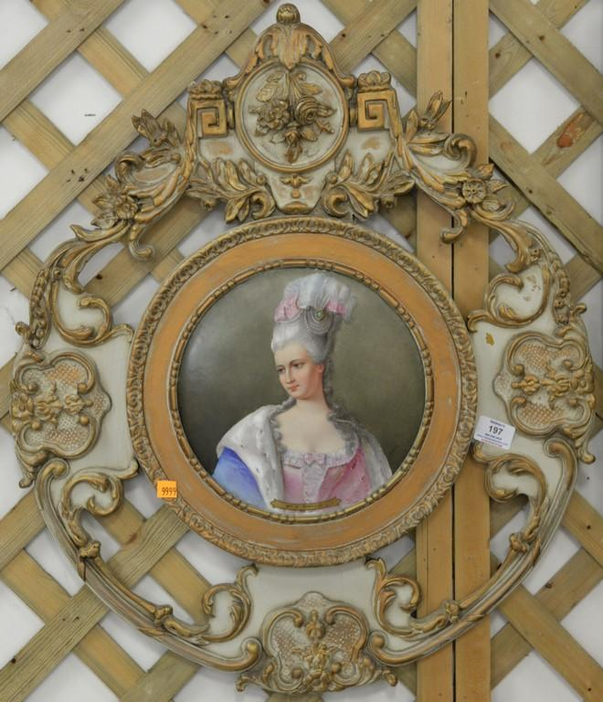 Painting on porcelain plaque, Mme De Pompadour in carved wood frame, 27