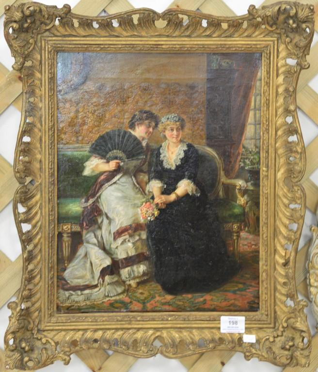 Victorian interior oil on canvas painting of two women gossiping, unsigned, 16 1/2