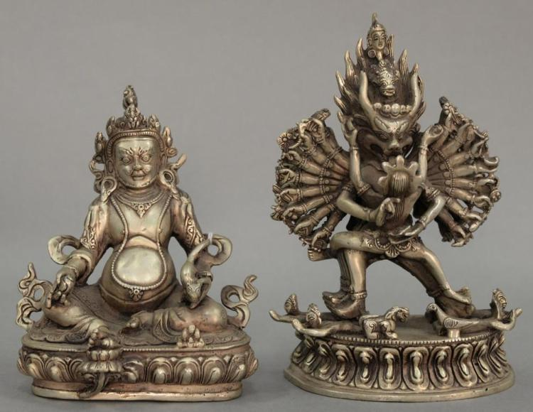 Two silvered bronze diety figures. ht. 5 3/4in. & 7 1/4in.