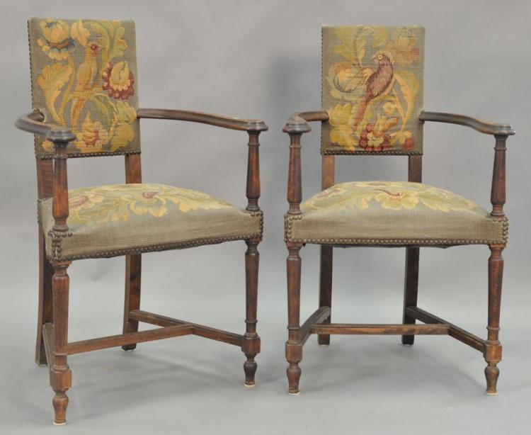 Pair of Continental style armchairs with Aubusson upholstery, Aubusson is 18th century or earlier.