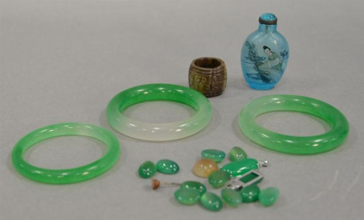 Group of Oriental jewelry to include three jadeight bracelets, reverse painted snuff bottle, hardstone ring, and a small group of ja...