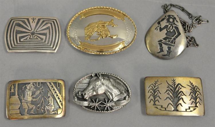 Group of six sterling and silver to include Southwestern Indian pieces, Siskiya horse bucklet, medicine man marked sterling H, sterl...