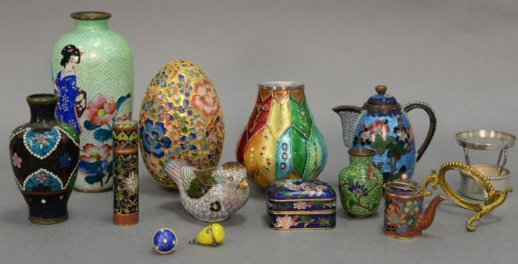 Group of enameled and cloisonne pieces to include two enameled egg charms, miniature cloisonne vase, teapot and box, enameled large ...