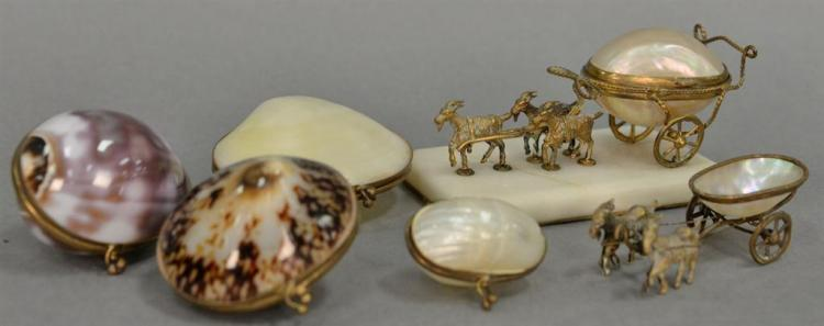 Six seashell trinket boxes incluiding 2 shell carriages lead by goats (lg. 5in.) and four trinket boxes.