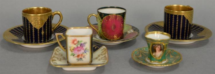 Five miniature porcelain cups and saucers including Dresden portrait cup and saucer, pair of Hutschenreuther Hohenberg cups (ht. 2in...