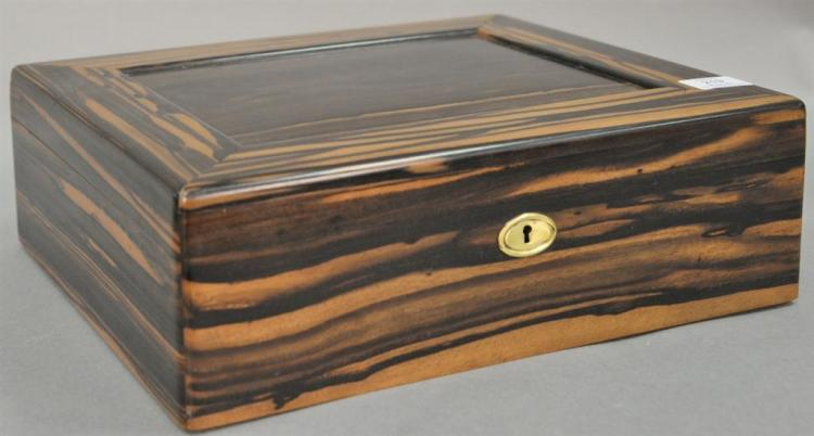 Tiffany & Co. exotic lift top wood box, stripped interior. ht. 5in. top: 13