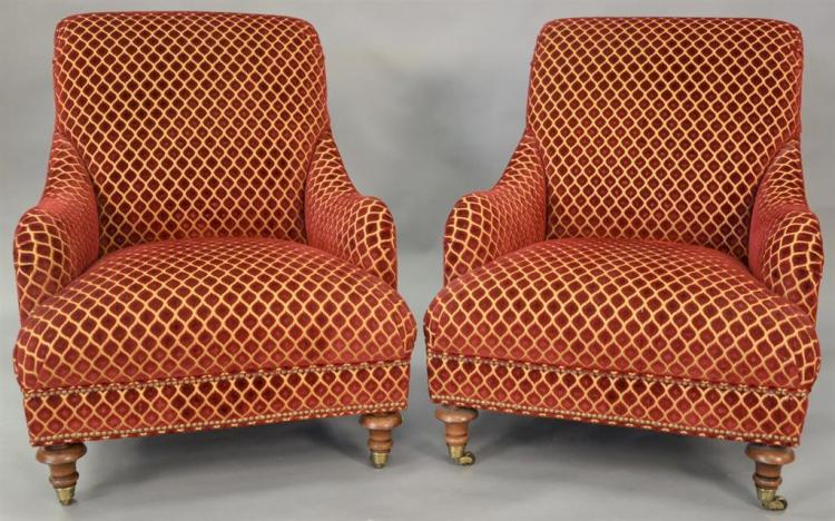 Pair of upholstered armchairs.