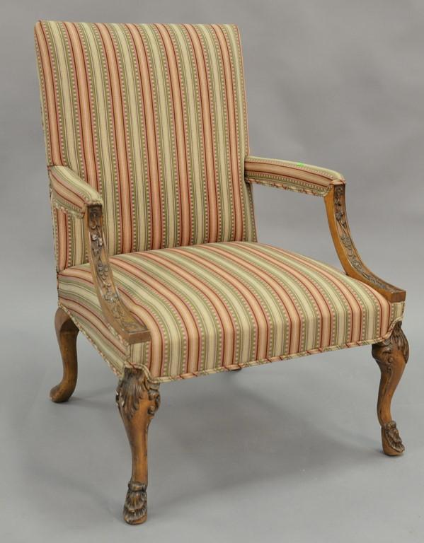 Continental style upholstered armchair.