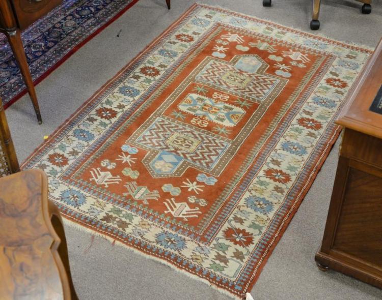 Oriental throw rug, 4' x 4'7