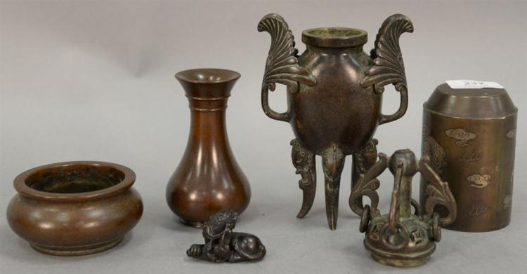 Group of five Chinese bronze pieces to include multimetal bronze seal, bronze vase, two bronze censors, and a small bronze foo dog....