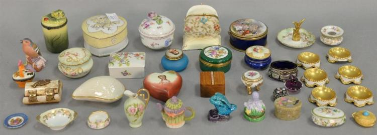 Two tray lots with boxes, trinket and pill boxes, salts, etc. including two Coralene pieces, Dresden box, Lenox shell box, Estee Lau...