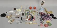 Box of costume jewerly, hatpins, and watches.