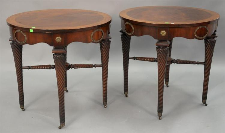 Pair of mahogany round tables with banded inlaid tops. ht. 28in., dia. 27in.